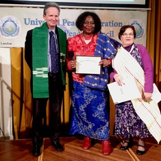 Receiving an Ambassador for Peace Award from the Universal Peace Federation